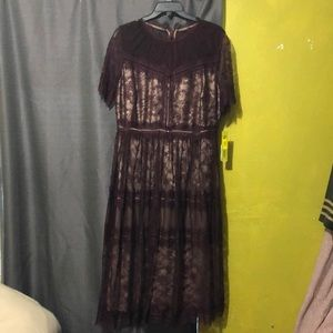 Gianni Bini Lacey maroon dress